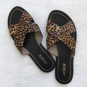 J. Crew Cyprus Cheetah print Slides Sandals 8